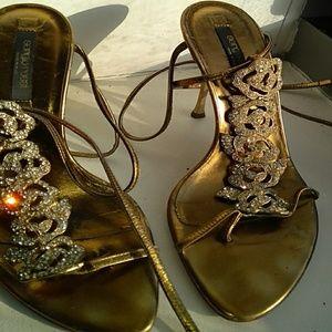 Sergio Rossi Gold jewelry sandal